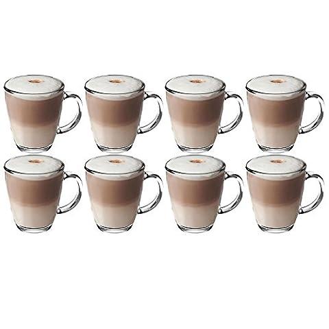 Get Goods 350ml Latte Gläser–dickes gehärtetes Glas Tassen, Kaffee/Tee/Espresso/Cappuccino–Spülmaschinenfest, glas, farblos, 8 (Latte Macchiato Tasse)