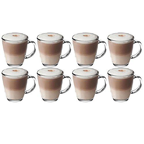 Get Goods 350ml Latte Gläser–dickes gehärtetes Glas Tassen, Kaffee/Tee/Espresso/Cappuccino–Spülmaschinenfest, glas, farblos, 8 glasses