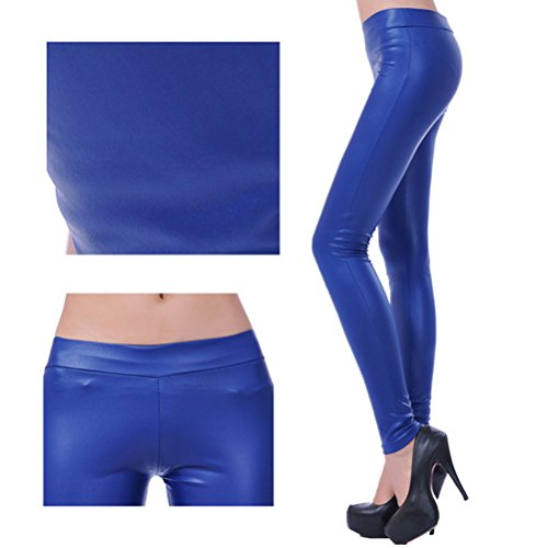 Zhhlaixing Moda popolare Matt Black PU Leather Leggings Stretchy Mid Waist Slim Skinny Pants Pantaloni confortevoli for Women Girls Dark Blue