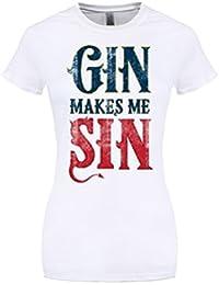 Gin Makes Me Sin Ladies T-Shirt