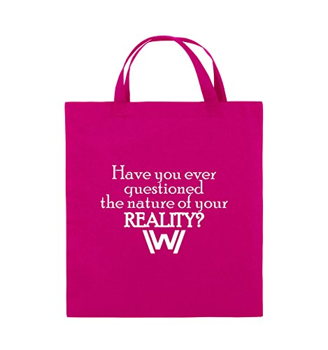 Comedy Bags - Have you ever questioned - WESTWORLD - Jutebeutel - kurze Henkel - 38x42cm - Farbe: Schwarz / Pink Pink / Weiss