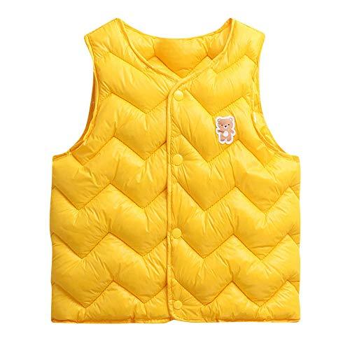Yazidan Kleinkind Baby MäDchen Jungen äRmellos Solide Warm Weste Kinder Kleidung Outfit Sweatshirt Strickjacke Mantel Dick Jacken Winter Kleider Oberbekleidung Outfits FüR 1-6 Jahre Alt(Gelb,120)