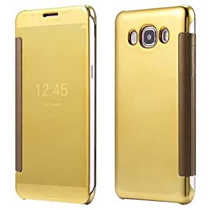 mobbysol™ Clear Mirror Flip case cover for Samsung Galaxy J710/ J7(2016)- GOLD