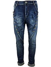 Damen Skinny Jeans mit doppelter Deko-Knopfreihe in Used-Look aus Denim/Stretch-Mix