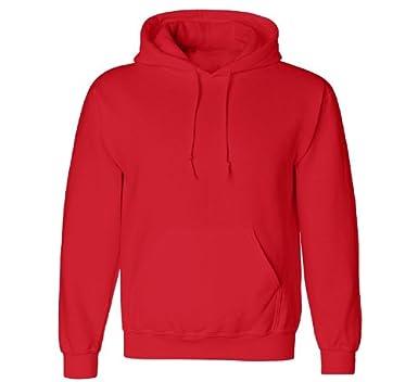 Red Plain Hoodie Fashion Ql