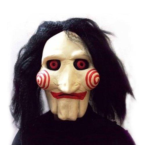 (JIGSAW SAW Maske mit Kunsthaaren - perfekt für Fasching, Karneval & Halloween - Kostüm für Erwachsene - Latex, Unisex Einheitsgröße)