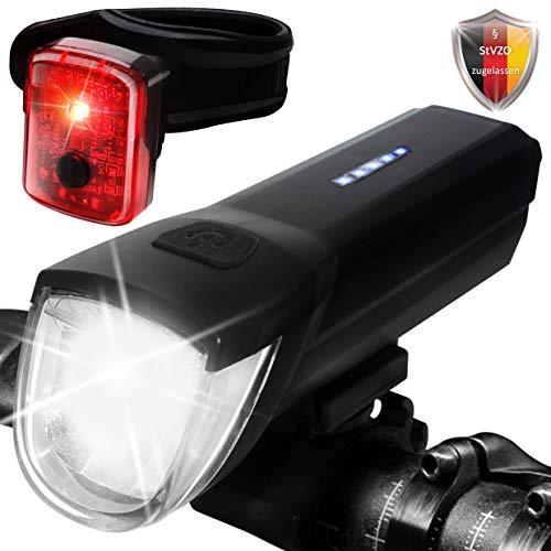 Yami Fahrrad licht Fahrradlicht LED fahrradbeleuchtung Set, StVZO Licht Fahrrad Beleuchtung Fahrradlichter Set USB Fahrradlicht vorne und hinten, LED Fahrradlicht Set 30LUX Fahrradlampen Set