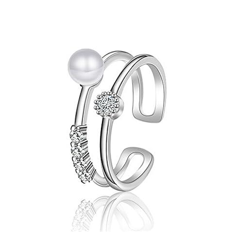Shawa Damen-Ring Herren-Ringe Band Silber glänzenden Süßwasserperlen Schmuck Verstellbar doppelt-schicht Ring mit Stein Zirkonia Hypoallergen Ringöffnung
