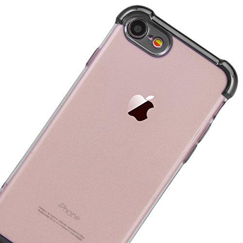 SMART LEGEND iPhone 7 Plus Weiche Silikon Hülle Bumper 360 Grad Full Body Protection Schutzhülle Transparent Hülle Handyhülle Clear Etui Ultra Slim Design Glatt Durchsichtig Weich TPU Handy Tasche Sof Schwarz