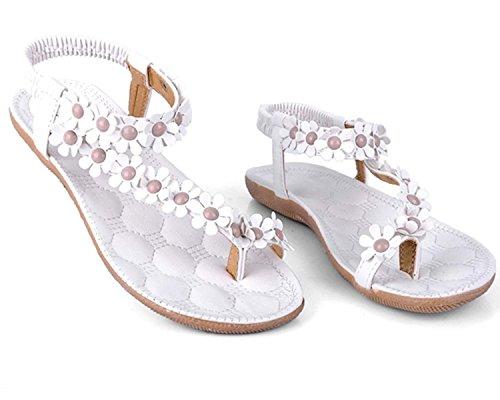 Minetom Donne scarpe casual Infradito Piatte con Fiori Sandali Elastici Boemi Dolci d'estate Accessorio Vacanza Bianco 1