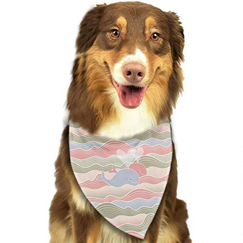 Wfispiy Stilisierte Wellen und Wale Muster Ostern Dog Bandana Reversible Dreieck Lätzchen für Hunde Haustier Tiere Olive Wellen
