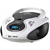 Lauson CP430, Radio Boombox FM/AM, CD Portátil, con USB, Lector de tarjetas SD, Blanco/Negro