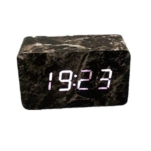 ASDFGG-home Nacht Wecker Marmor-Muster-LED-Wecker Schlafzimmer Schwere Schwellen Sprachsteuerung Nachtlicht Digitaluhr-Anzeige 3 Alarmeinstellungen Datum Temperatur Kids Adult Wood Analog Rectangle