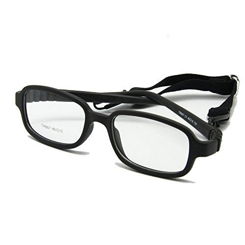 Kinder Brillengestell mit Gurt Größe einteilige Nr. 46/16 Schraube 4-6Y, Flexible optische jungen Mädchen Brille (Schwarz)