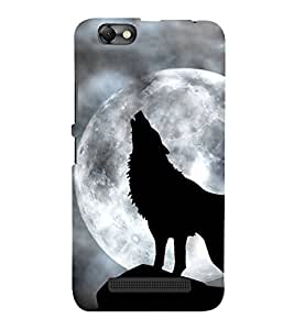 FUSON Howling Wolf With Moon 3D Hard Polycarbonate Designer Back Case Cover for Lenovo Vibe C :: Lenovo A2020