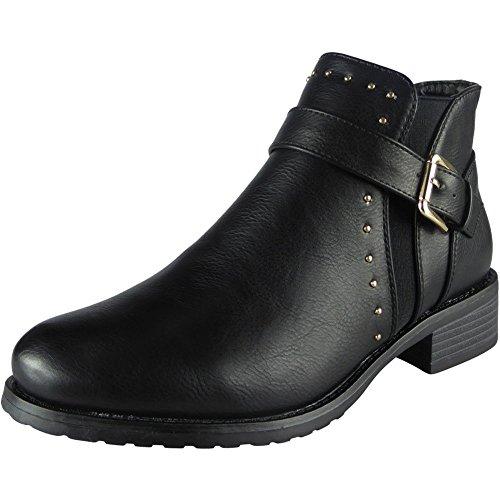 Damen Stecken Schnalle Gurt Chelsea Knöchel Stiefel Größe 39 (Schnalle Stiefel Gurt)