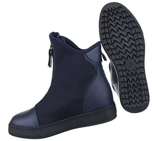 Damen Schuhe Stiefeletten Keilabsatz Sneaker Boots Dunkelblau
