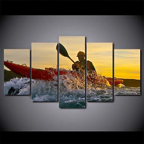 GHTAWXJ Hd Druckplakat Modulare Malerei Leinwand Wandkunst Bilder 5 Panel Kanusport Sonnenuntergang Dekoration