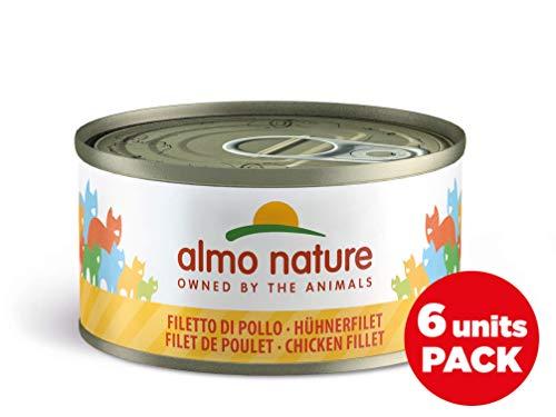Almo Nature Megapack Filetto di Pollo- Cibo umido naturale per gatti adulti (6 x 70gr-lattina)