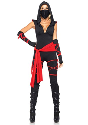 (Karneval-Klamotten Ninja-Kriegerin Kostüm Damen sexy Samurai-Kämpferin schwarz-rot Catsuit 5-TLG. Größe 38/40)