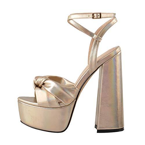 Onlymaker Damen Plateau Sandalen Open Toe Knoten Blockabsatz Chunky High Heels Knöchelriemen für Kleid Party Gold 45 EU -