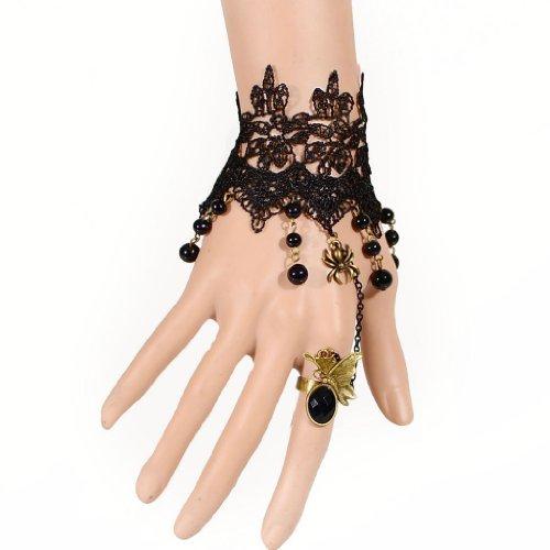 SODIAL(R) Anillo y Pulsera de cuentas de encaje negro Lolita gotico de estilo vintage de mujer