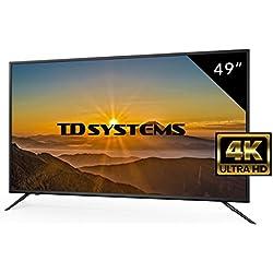 Televisores Led 49 Pulgadas UHD 4K TD Systems K49DLM8U. Resolución Ultra HD 4K, 3x HDMI, VGA, USB Reproductor y Grabador, Tv Led TDT HD DVB-T2