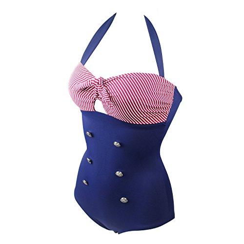 Yvonnelee Badeanzüge Bauchweg Monokinis Bandeau Rückenfrei Figurformende Bademode Swimsuit für Damen Einteiler Badeanzug XXXL - 2
