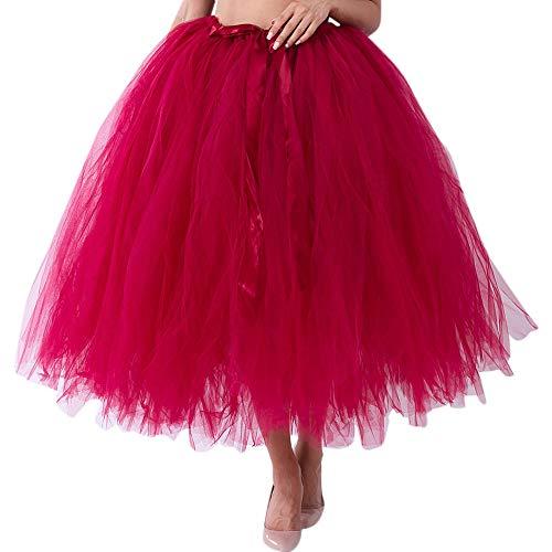 Damen Cosplay Crinoline Petticoat Mesh Tüllrock Brautjungfer Prinzessin 50er Kurz Ballet Tanzkleid Blase Mutterschaft für Rockabilly Kleid(X1-Weinrot, Freie Größe) ()