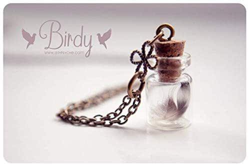 Piccola piuma bottiglia collana, collana flacone in vetro, collana carina, bottiglia piccola collana, collana piuma, fiala pendente, regali per le donne