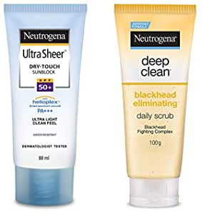 Neutrogena Ultra Sheer Dry Touch Sunblock SPF 50+ Sunscreen Lotion for Women and Men, 88ml and Neutrogena Deep Clean Scrub Blackhead Eliminating Daily Scrub for Face, 100g