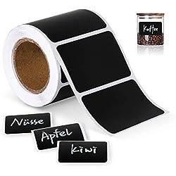 1Plusselect 150 étiquettes Cuisine Haute qualité en Noir Mat pour Pots et bocaux. Etiquettes Autocollantes Vierges en Format Ardoise pour boîtes à épices et Pots de Confiture, 4cm x 6cm