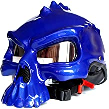 Qianliuk Moto Motobike Casco cráneo Elfo Medio Cara Casco Burbuja Espejo Doble Cara Cambio Motocross Casco