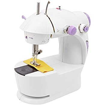 Qualimate Plastic Mini Desktop Multi-Functional Electric Sewing Machine with Double Stitches Sewing-Tools (Multicolour, GS_Sewing and Embroidery_S1)
