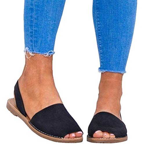 Sandalen Damen Sommer Sandaletten Flachen Frauen Knöchelriemchen Espadrille Plateau Flip Flop Sommersandalen Bequeme Elegante Schuhe Schwarz Weiß Rosa Gr.34-44 BK35