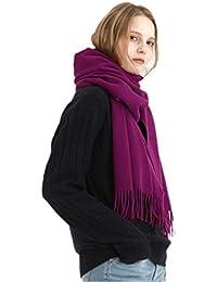 Prettystern unisex uomini donne Sciarpa cashmere   lana di pecora tinta  unita frange soffice 3612cf8528dd
