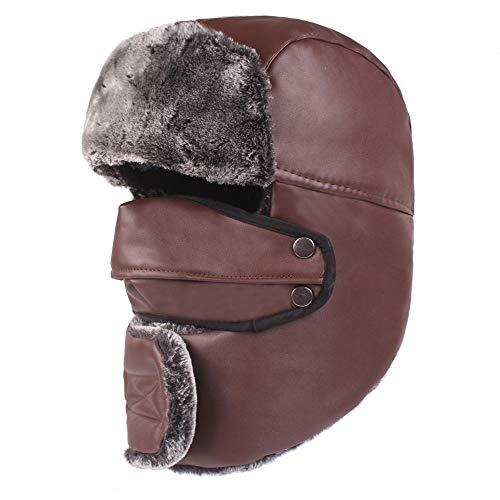 f45b2496d BZAHW Hombres Mujeres Impermeable Espesar Más Terciopelo Ushanka Trapper  Hat con Tapa máscara Sombrero Ruso Cap (Color : Color Brown , Size : One ...