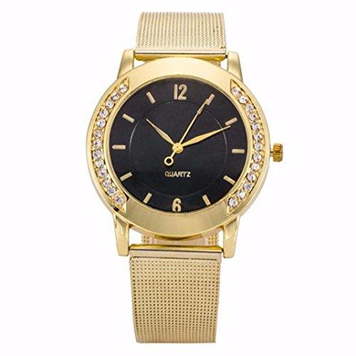 Montre en acier inoxydable,Femmes quartz cadran horloge montre Les femmes en cristal d'or en acier inoxydable bracelet de quartz montre analogue montres by LHWY