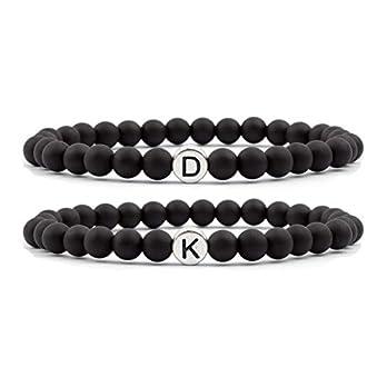 Milosa personalisiertes Namensarmband für zwei, 6mm Perlen Partnerarmband-Set (2 Stk.) für Damen und Herren, Pärchen Armbänder mit silber Buchstabenperle, Geschenk für Paare, Couple bracelets gift