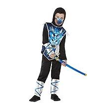 Smiffys 71044L Ninja Warrior Costume, Boys, Blue, L - Age 10-12 years