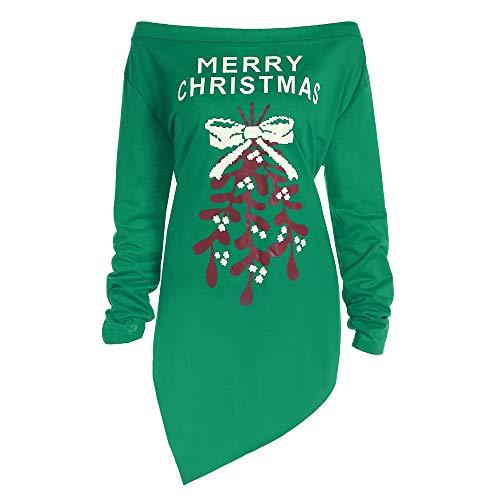 LANSKIRT Weihnachtsfeier Kleid, Frauen Weihnachten Briefkleid drucken Damen Weihnachten Tops Baum Bedruckte Langarmbluse Party Kleider