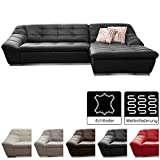 Cavadore Leder-Sofa Lucas / Echtleder-Couch mit Steppung / Longchair rechts / 287 x 81 x 165 (BxHxT)...