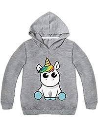 Lesaldy Sudadera Unisex para niña Sudadera con Capucha Pull Unicorn Impreso Unicornio Manga Larga Colorido Suéter