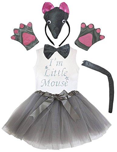 Petitebelle 3D-Stirnband Bowtie Schwanz Handschuhe Hemd Rock 6pc Mädchen-Kostüm 4-5 Jahre 3d graue Maus (Mädchen Graue Maus Kostüm)