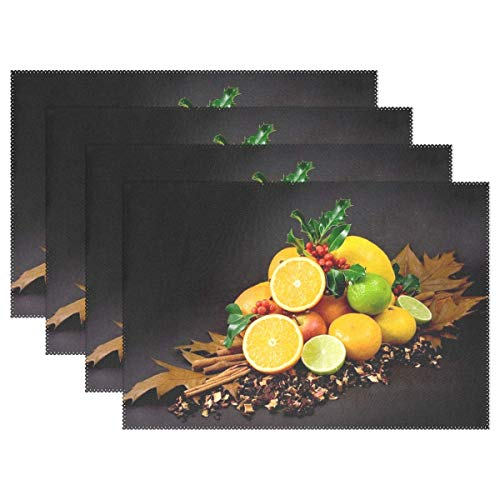 Promini Hitzebeständige Tischsets, Bunte Früchte, Zitrus/Zitrone/Vitamine, gesund, waschbar, Polyester, Rutschfest, waschbar, Platzsets für Küche und Esszimmer, 4 Stück