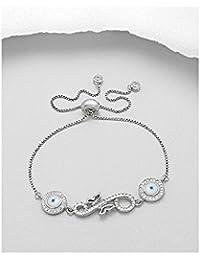 BrendaStyle Bijoux Bracelet Pour Femme En Argent 925/1000 Rhodiè Avec Zirconium - oeil turc (15cm - 22cm)