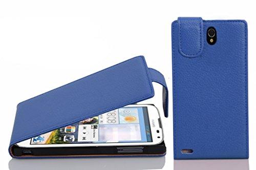 Cadorabo Hülle für Huawei Ascend G610 Hülle in KÖNIGS blau Handyhülle aus strukturiertem Kunstleder im Flip Design Case Cover Schutzhülle Etui Tasche Königs-Blau