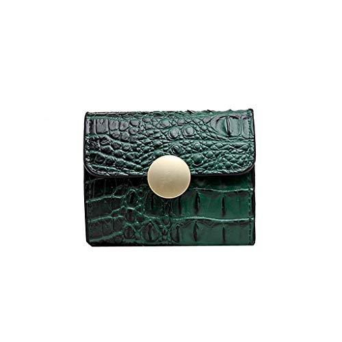 XZDCDJ Frauen Geldbörsen Brieftasche Ausweistaschen Clutch Vintage Pure Color Short Wallet Kartenhalter Handtasche Grün -