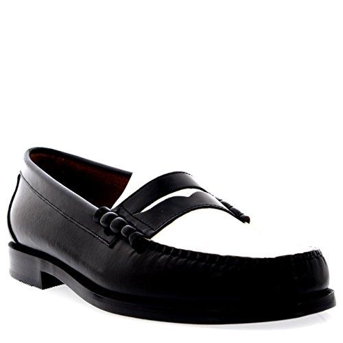 uns Larson Moc Penny Schlüpfen Leder Arbeit Schuhe - Schwarz/Weiß - 43 (Bass Weejuns Herren Schuhe)