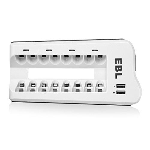 EBL Akku Ladegerät AAA AA NI-MH, NI-Cd Akkus und USB Geräte, 8-Ladeplatz Batterie Ladegerät Batterieladegerät mit LED Anzeige und 2 USB Port (Nicd-akku-ladegerät)